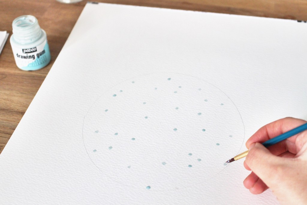 Etape 2 aquarelle constellation : points au drawing gum