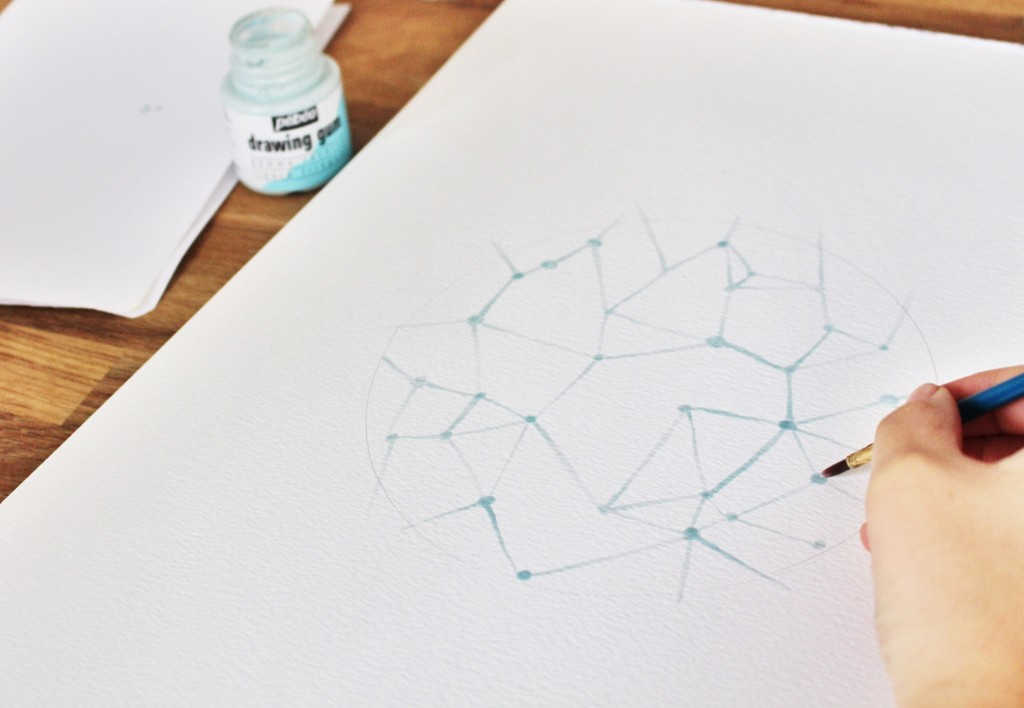 Etape 3 aquarelle constellation : tracer des lignes entre les points