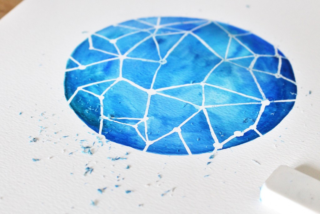 Etape 6 aquarelle constellation : gommer le drawing gum