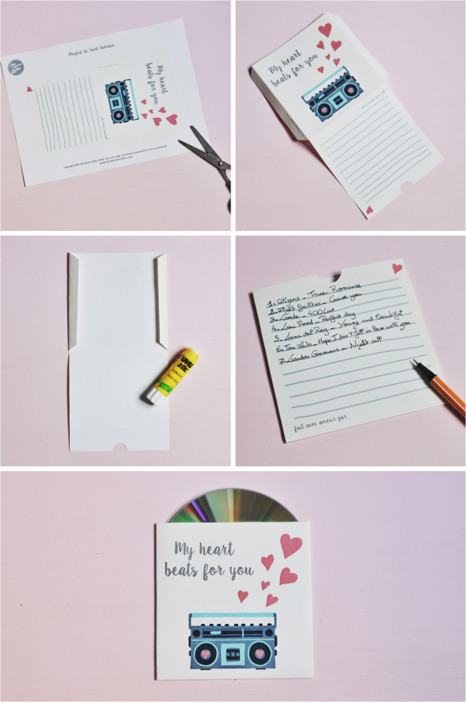 DIY free printable playlist Valentines day