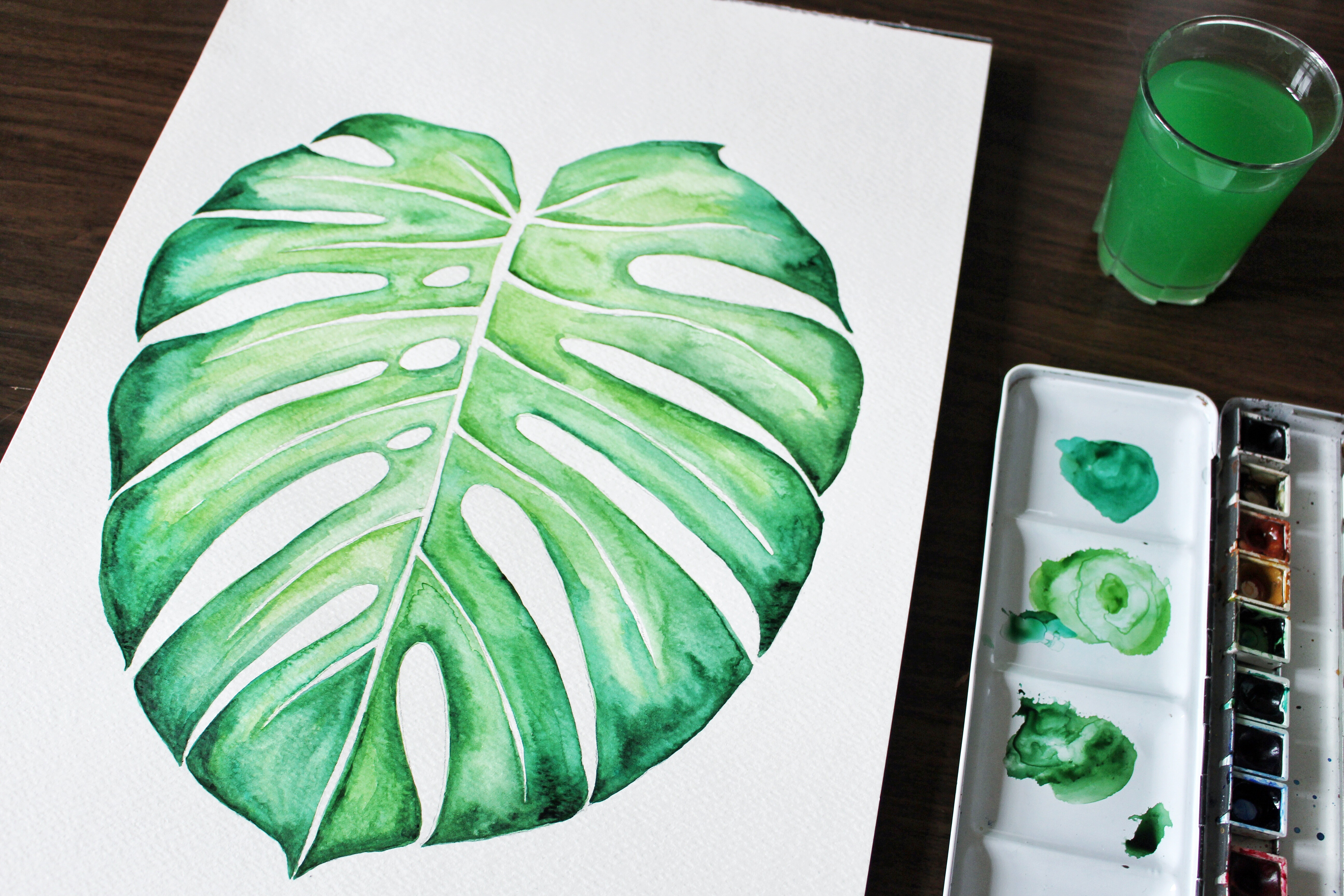 diy feuille de monstera l 39 aquarelle mes derni res lubies. Black Bedroom Furniture Sets. Home Design Ideas
