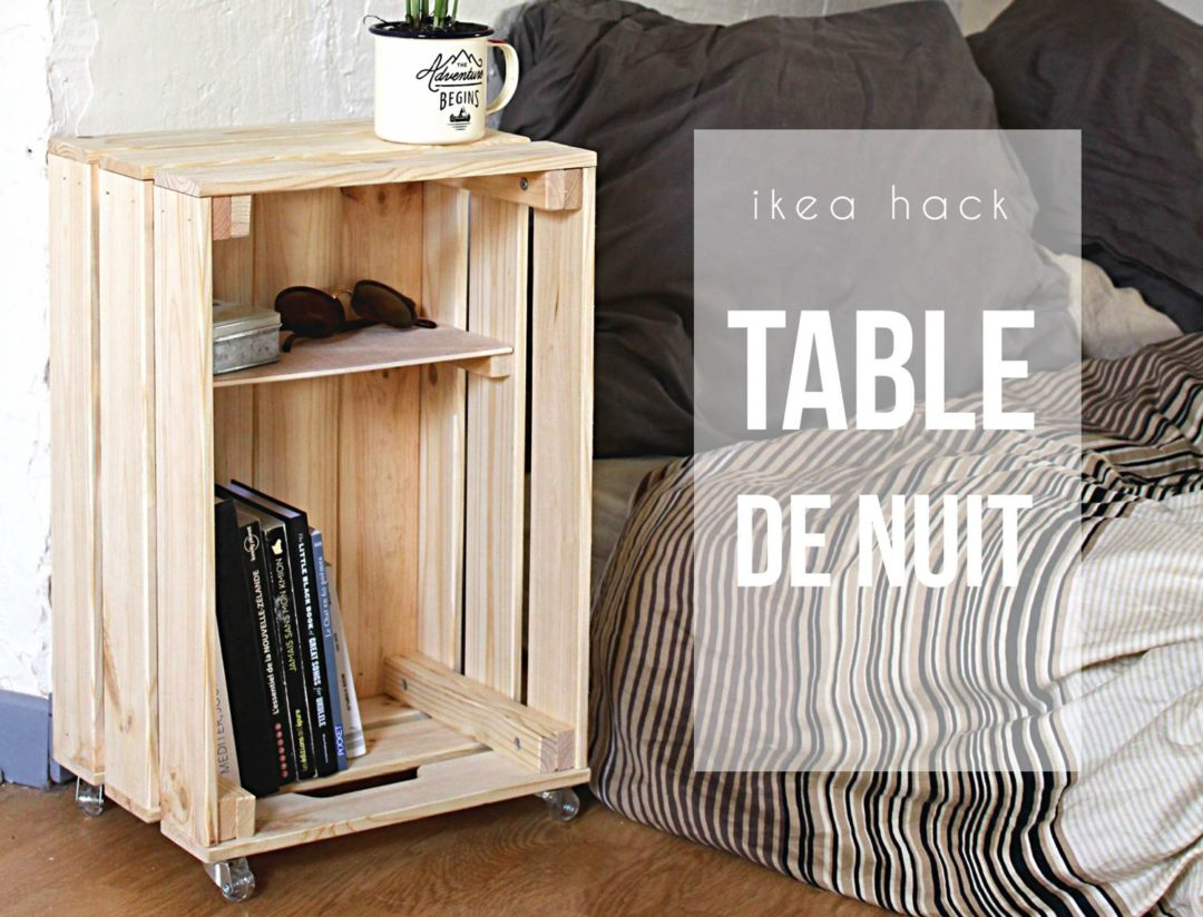 diy table de nuit avec une caisse en bois mes derni res lubies. Black Bedroom Furniture Sets. Home Design Ideas